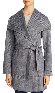 T Tahari Double Face Glen Plaid Wrap Coat