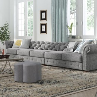 """Three Posts Gowans Chesterfield 141.2"""" Rolled Arm Sofa Fabric: Pewter Gray Linen"""