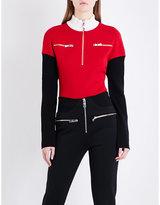 Versace Contrast-panel high-neck wool jumper