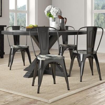 Williston Forge Aariz Metal Slat Back Stacking Side Chair Seat Finish Ash Crazy Horse Frame Finish Black Shopstyle