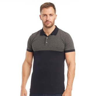 French Connection Mens Block Contrast Collar Polo Marine/Charcoal Melange