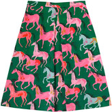 Cath Kidston Painted Horses Pleat Detail Midi Skirt