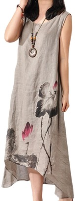 Zilcremo Women Cotton Linen Dress Summer Sleeveless Floral Print Loose Maxi Dresses Grey XL