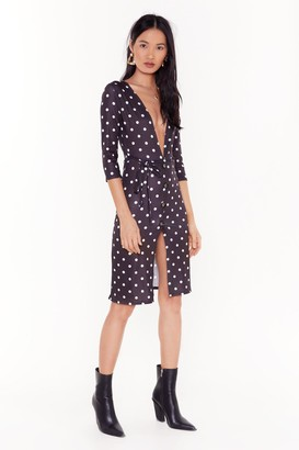Nasty Gal Womens Don't Spot Being Yourself Polka Dot Midi Dress - black - 6