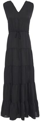 DKNY Tiered Satin Maxi Dress