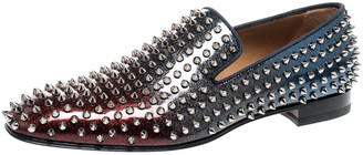 Christian Louboutin Red/Blue Patent Leather Dandelion Spikes Loafers Size 43