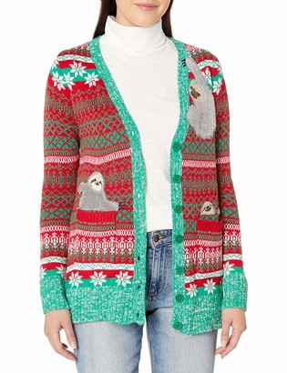 Blizzard Bay Women's Sloth Cardigan Ugly Christmas Sweater