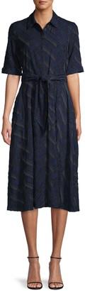 Donna Karan Chevron Flare Shirtdress