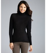black silk-cashmere hi-low turtleneck sweater