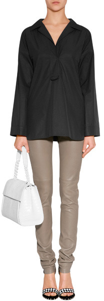 Jil Sander Black Brushed Cotton Tunic-Style Shirt