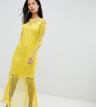 Asos Tall DESIGN Tall embroidered fringe maxi-Yellow
