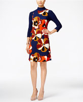 ECI Floral-Print Layered-Look A-Line Dress