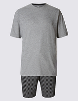 M&s Collection Pure Cotton Printed Pyjama Short Set