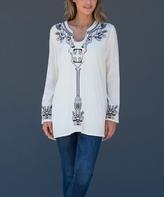 Paparazzi Beige Embroidered Notch-Neck Tunic