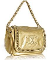 gold crinkled patent chain flap shoulder bag