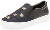 Christian Dior Embellished Denim & Leather Slip-On Sneaker
