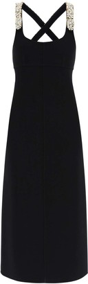 Lanvin LONG DRESS WITH EMBROIDERED STRAPS 36 Black Wool
