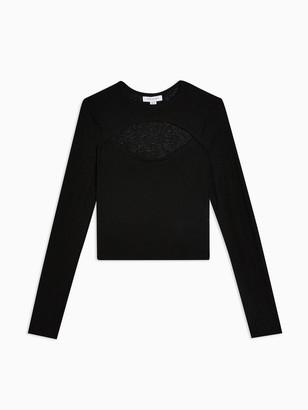Topshop Petite Cut Out Long Sleeve Top - Black