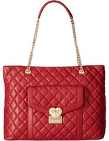 Love Moschino Quilted Tote with Chain Tote Handbags