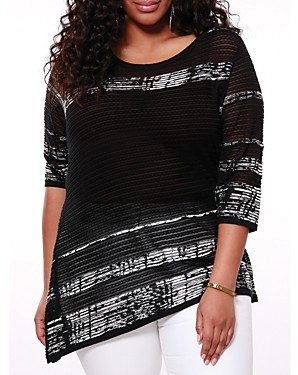 Belldini Plus Contrast-Jacquard Asymmetrical Pullover Top