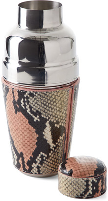 Graphic Image Snake-Embossed Leather Cocktail Shaker