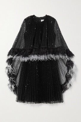 Huishan Zhang Dora Feather-trimmed Pleated Sequined Tulle Dress - Black