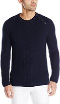 Nautica Men's Cable Knit Buttoned Crew Sweater