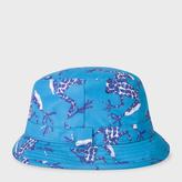 Paul Smith Men's Sky Blue 'Leopard Frog' Print Swim Bucket Hat