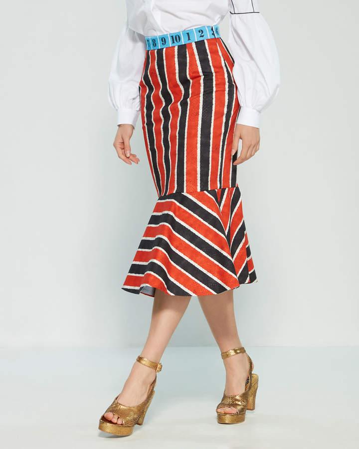 Stella Jean Striped Snakeskin Print Mermaid Midi Skirt