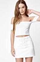 PacSun Lace-Up Denim Mini Skirt