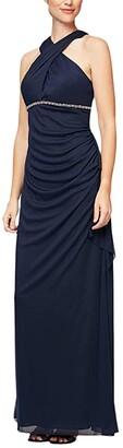 Alex Evenings Long A-Line Mesh Sleeveless Dress (Navy) Women's Dress