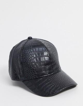 ASOS DESIGN croc PU baseball cap in black