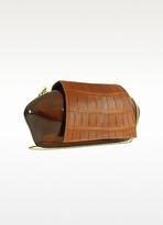 Rocio Venice Tan Crocodile Clutch