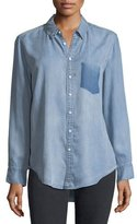 DL1961 Premium Denim Nassau Manhattan Button-Front Mid-Wash Chambray Shirt