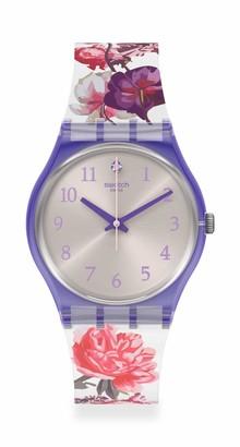 Swatch Lovely Garden Swiss Quartz Silicone Strap White 16 Casual Watch (Model: GV135)