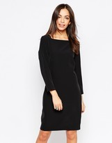Minimum 3/4 Sleeve Pencil Dress With Square Neck