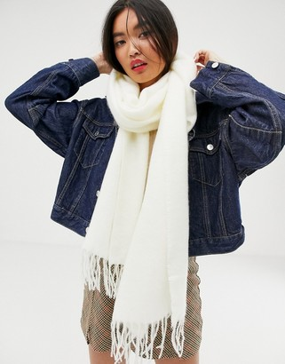 ASOS DESIGN supersoft long woven scarf with tassels in white