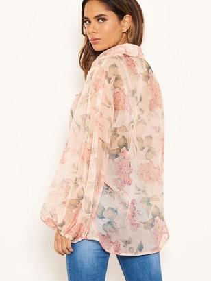 AX Paris Floral Chiffon Blouse - Pink