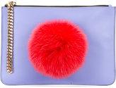 Les Petits Joueurs pompom clutch - women - Cotton/Nappa Leather - One Size
