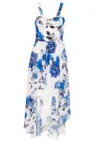 Quiz Cream And Blue Chiffon Dip Hem Dress
