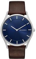 Skagen Slim Holst Stainless Steel Brown Leather Strap Watch