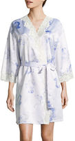 Lauren Ralph Lauren Signature Satin Lace Short Wrap Robe