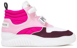 Emilio Pucci Quilted Neoprene, Leather And Suede High-top Sneakers