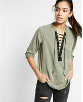 Express lace-up silky soft twill long-sleeve shirt