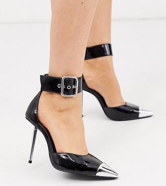 ASOS DESIGN Wide Fit Pierce stiletto heels with toe cap in black patent