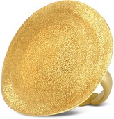 Stefano Patriarchi Golden Silver Etched Round Ring