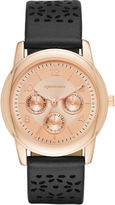 Arizona Womens Rose Gold Tone Black Strap Watch