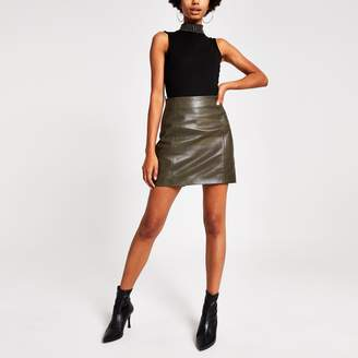 River Island Womens Khaki leather side zip mini skirt