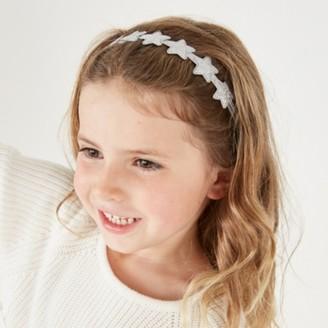 The White Company Star Elastic Headband, Grey, One size