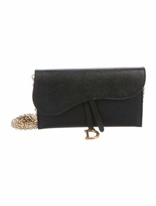 Christian Dior Saddle Wallet on Chain Black